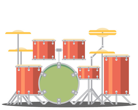 cymbal: color flat style vector drum set on white background bass tom-tom ride cymbal crash hi-hat snare stands Illustration