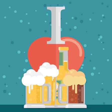 tarro cerveza: Me encanta la cerveza. Ilustración del vector. estilo de diseño plano