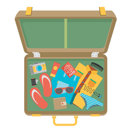 packed: Packed suitcase for summer holiday - vector illustration Illustration