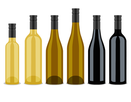 beer bottle: set of bottles of wine, flat design Illustration