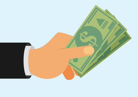 money bills: Hands holding money bills. Flat style