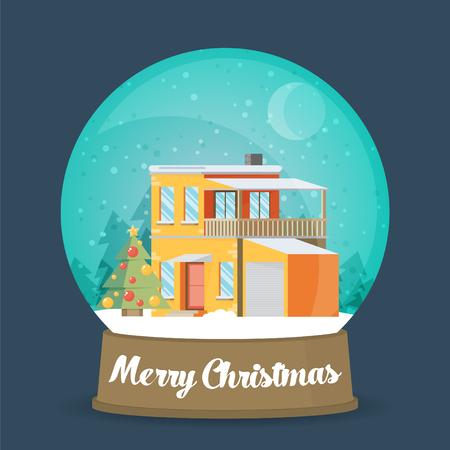 neige noel: Plat de Noël Globe de neige. globe de neige de Noël avec un arbre de Noël à l'intérieur. Isolated boule de Noël en verre sur un fond coloré. Illustration