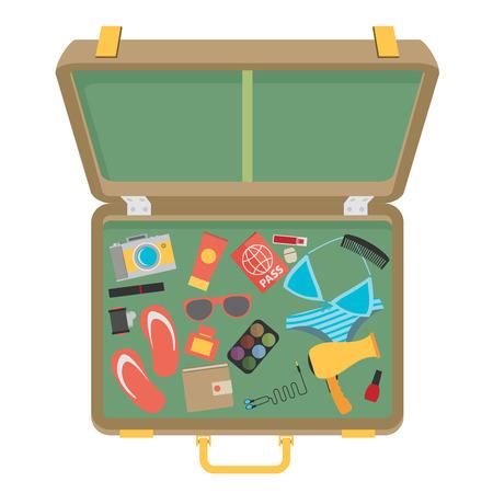 traje de bano: Maleta pila de discos para las vacaciones de verano - ilustraci�n vectorial