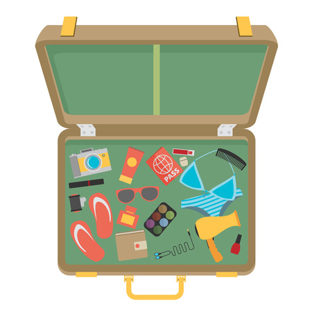 swimsuit: Packed suitcase for summer holiday - vector illustration Illustration