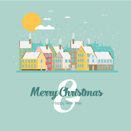 christmas in the city: Christmas city greeting card - snowy street. Vector illustration.