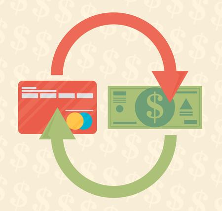 tarjeta de REDIT y dinero en efectivo. medios de pago, con salida de efectivo, inversión inteligente, de negocios, de retirada de efectivo, negocios, conceptos de pago en línea. Diseño plano.