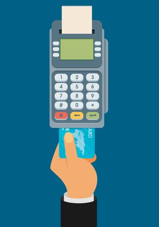 Hand pushing credit card into the pos terminal. Flat style Ilustração