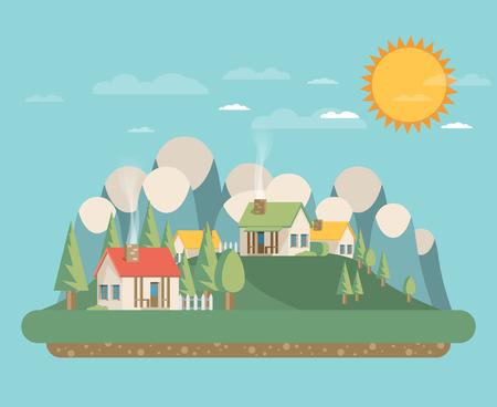 investment real state: Casas. estilo plano. Monta�as y �rboles. Vectores