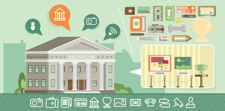 art museum: Museum icons set with building. Flat vector. Illustration