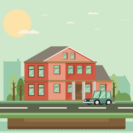 residential: Flat Residential House. Vector illustration.