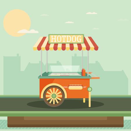 vitrine: Hot dog, street cart. Vector.