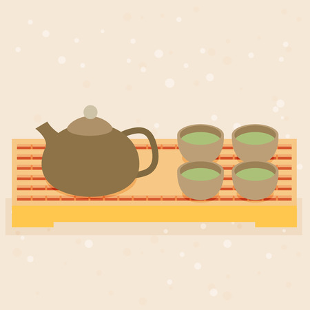 zen like: Teapot and cups.