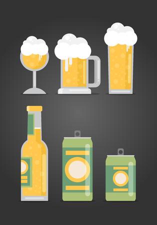 bier festival: Bottle of beer with glass, flat design modern vector illustration.