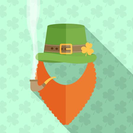 red beard: flat design icon on Saint Patricks Day character leprechaun with green hat, red beard, smoking pipe Illustration