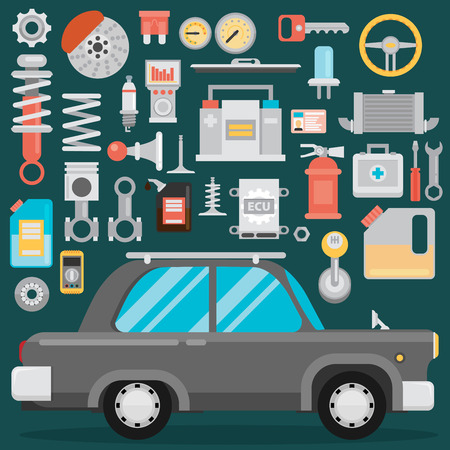 ignition: Flat vector icons and illustrations repair of machines and equipment. Old car repair. Illustration
