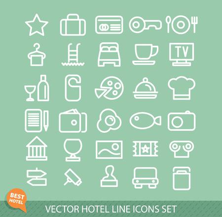 mini bar: Outline web icon set - Hotel services