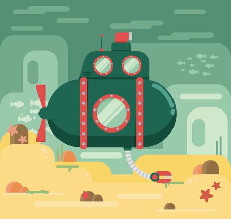 Submarine under water concept vector flat illustration Ilustração