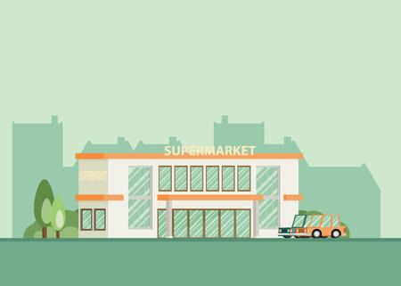 Supermarket building facade, flat vector illustration. Illustration