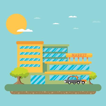 facade: Supermarket building facade, flat vector illustration. Illustration