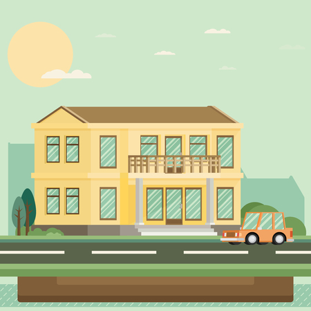 nice house: Flat Residential House. Vector illustration.