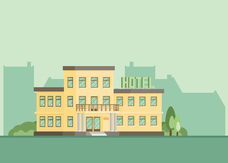 hotel building: Hotel building. EPS10. Flat vector.