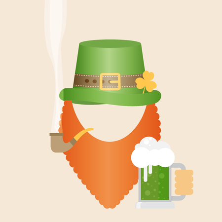 flat design icon on Saint Patricks Day character leprechaun with green hat, red beard, smoking pipe and green beer Illustration