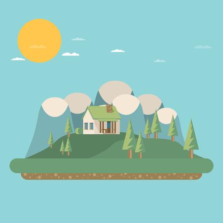 investment real state: Casa. estilo plano. Monta�as y �rboles.