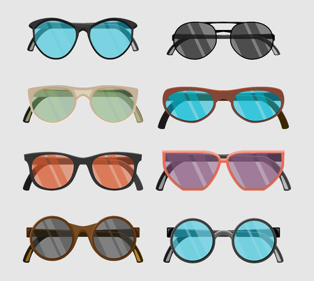 perforating: Set of hipster glasses flat elements.