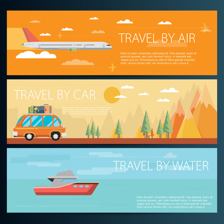 omnibus: Set of horizontal travel banners in flat style Illustration