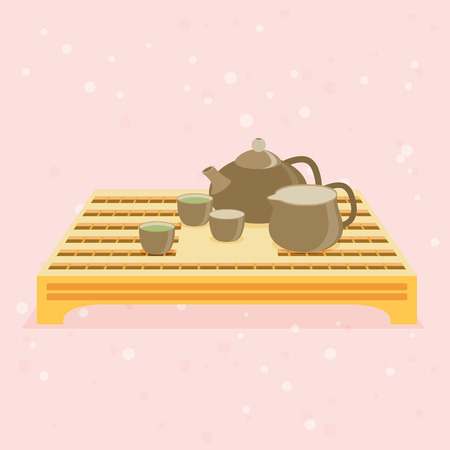 Teapot and cups. Vector illustration EPS 10 Illustration