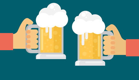 Two men toasting glasses of beer. Flat vector.