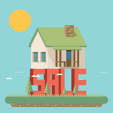 house for sale: House for sale. Flat vector illustration.