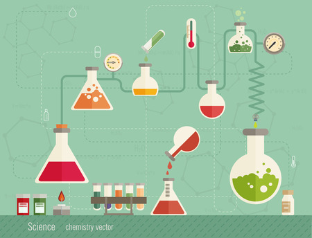 distilling: Medical laboratory infographics depicting a chemical solution boiling over a bunsen burner distilling into a flask linked to glassware and biochemical tests and research colorful vector illustration