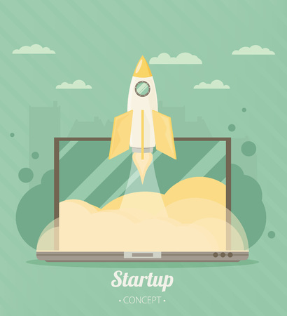 travel concept: Flat concept background with rocket. Project start up - launch. Vector illustration.