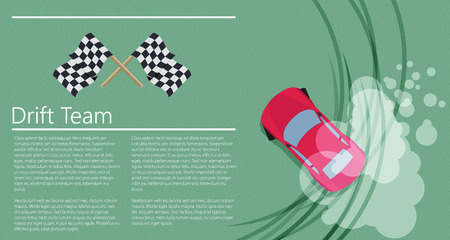 drifting: Top view of a drifting car Illustration