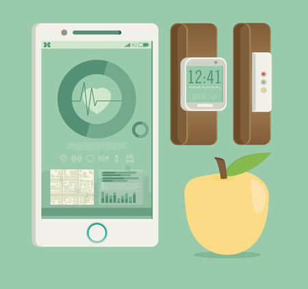synchronization: Smart Watch with Fitness application for health. Synchronization of devices. Health test Illustration in flat style