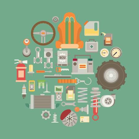 piezas coche: Conjunto de piezas de auto partes. iconos de reparación de automóviles en estilo plano.
