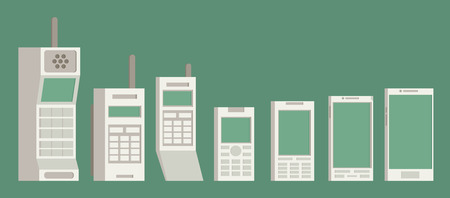 cell phones: Cell phone evolution illustration. Flat vector.