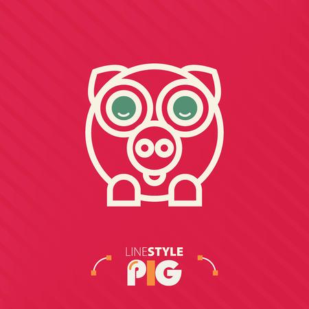 animal idiot: Vector illustration. line style pig Illustration