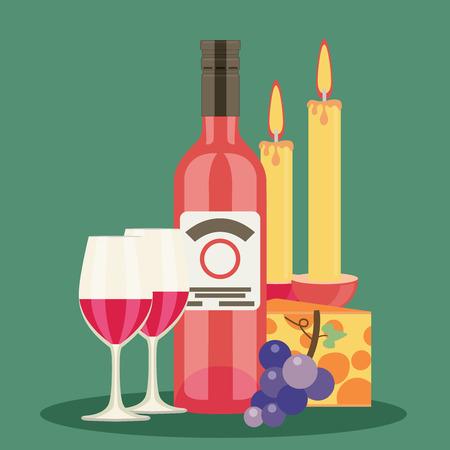 uncork: Colored flat design vector illustration wine