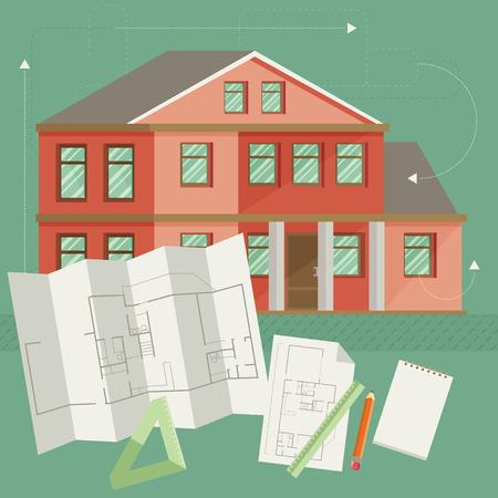 draftsman: Set of vector architect concept design flat line Illustration