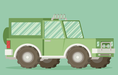 4x4: Off road car isolated on color background. Flat vector illustration