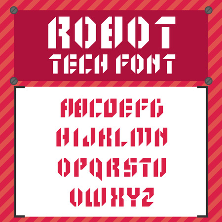 robotic: Vector robotic font in flat style