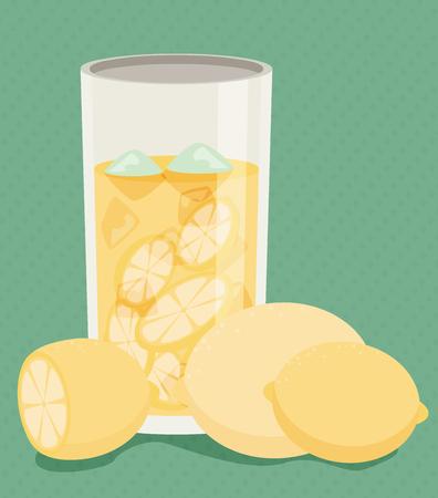 zest: Lemonade with fresh cut lemons. Flat vector.
