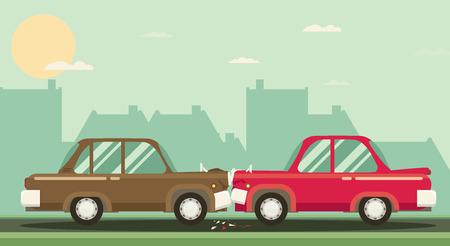 Auto ongeluk. Twee auto's hit head-on. Platte design. Stock Illustratie
