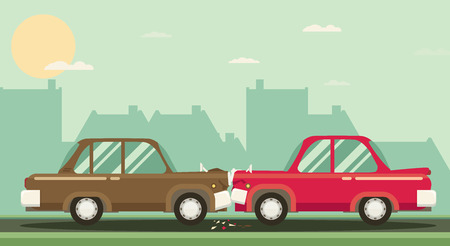 Car crash. Two cars hit head-on. Flat design. Imagens - 52860218