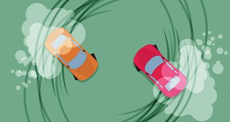 drifting: Top view of a drifting cars