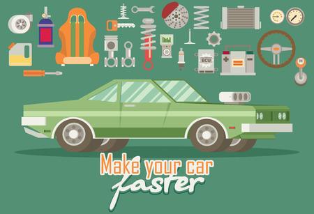 modernization: Parts for cars. Tuning and modernization. Illustration