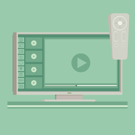 flat screen tv: Vector smart tv concept - illustration in flat style with apps and video player on screen and remote control Illustration