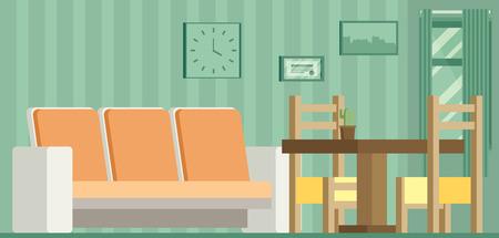 Salon et salle à manger avec des meubles Vecteurs